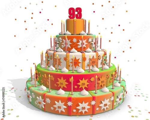 Valokuva  Feestelijke gekleurde taart met cijfer 93