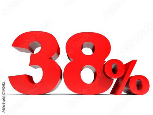 Poster  Red thirty eight percent off. Discount 38%.