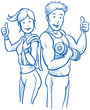 Happy young fitness woman and man showing thumbs up