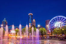 Centennial Olympic Park In Atlanta During Blue Hour After Sunset