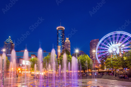 Centennial Olympic Park in Atlanta during blue hour after sunset Wallpaper Mural