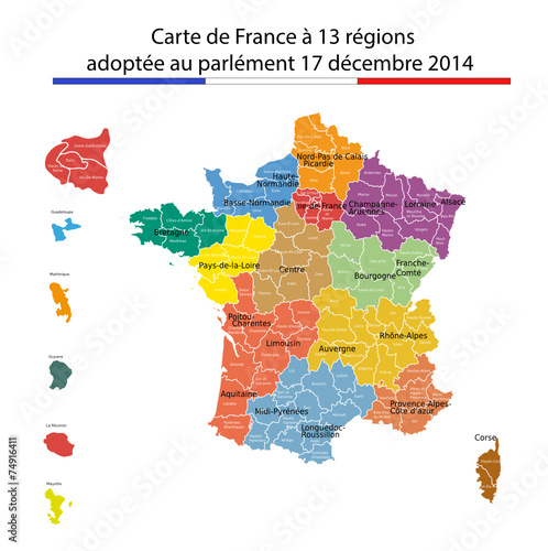 Canvas Print France à 13 régions