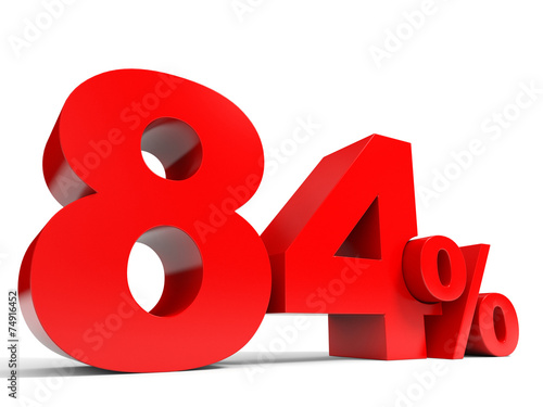Fotografia  Red eighty four percent off. Discount 84%.