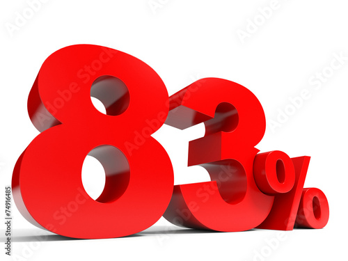 Fotografia  Red eighty three percent off. Discount 83%.