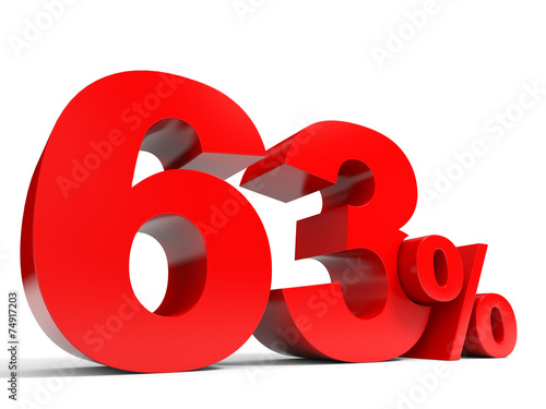 Fotografia  Red sixty three percent off. Discount 63%.