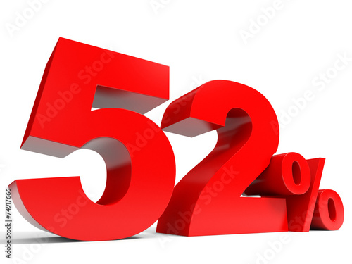 Poster  Red fifty two percent off. Discount 52%.