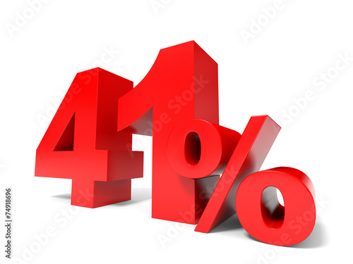 Fotografia  Red forty one percent off. Discount 41%.