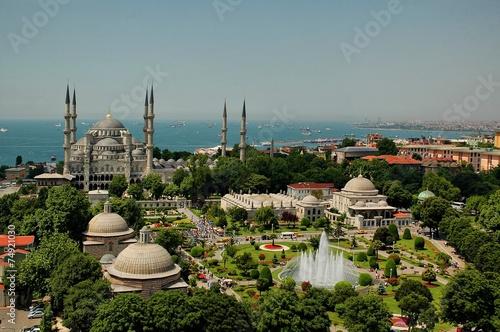Printed kitchen splashbacks Turkey Blue Mosque Istanbul-Sultanahmet from Hagia Sophia minaret