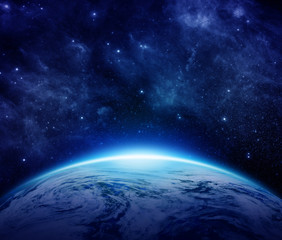 Blue Planet Earth, stars, galaxies, nebulae, milky way in space