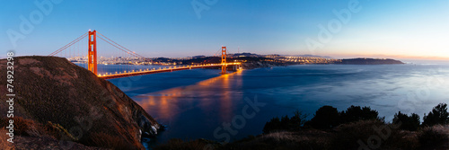 Panoramic view of Golden Gate bridge, San Francisco, USA. #74923298