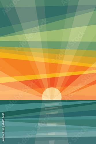 Sunset on beach. Geometric abstract