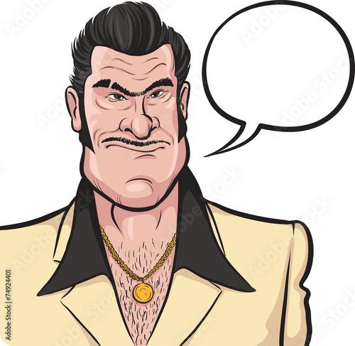 Fotografie, Obraz  Cartoon mafia man with speech bubble