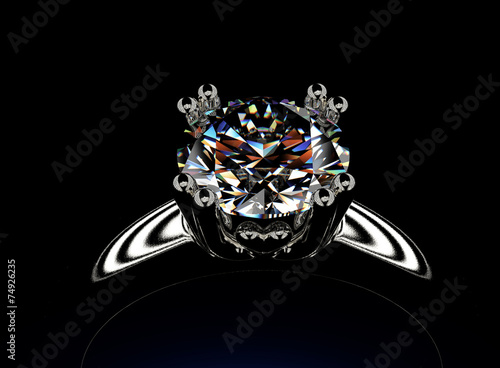 Tuinposter Golden Ring with Diamond. Jewelry background