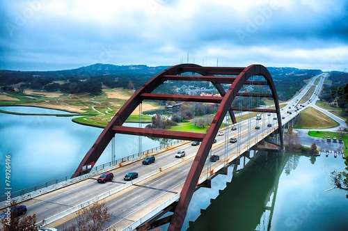 Autocollant pour porte Texas Pennybacker Bridge, Austin, Texas