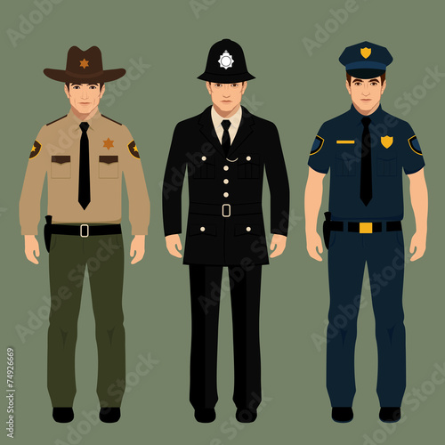 Valokuvatapetti policeman and sheriff uniform, vector police officers people,
