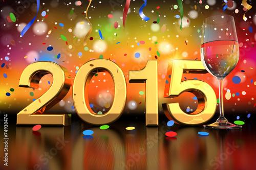 Poster  champagne glass - 2015 - confetti and streamer - shot 1