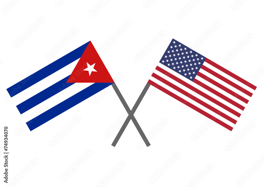 Fotografiet  Flag of Cuba and USA