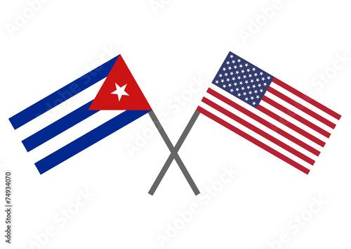 Flag of Cuba and USA Canvas Print
