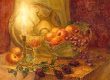 Gouache Still Life. Burning Candle Illuminates Fruits And Golden