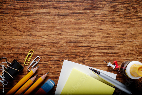 Office Supplies on Table with Copy Space on Top Wallpaper Mural