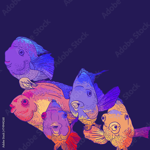 Canvas Prints Fairytale World Colorful Greeting Card with Fish