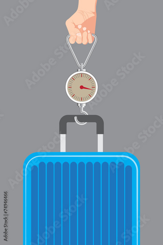 Fotografie, Obraz  Hand luggage measurement using steelyard weight vector.