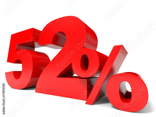 Photo  Red fifty two percent off. Discount 52%.