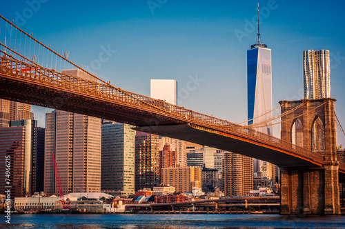 Stampa su Tela  New York,Brooklyn Bridge,