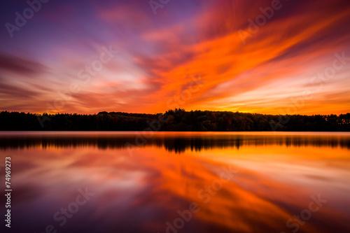 Long exposure at sunset, at Long Arm Reservoir, near Hanover, Pe #74969273