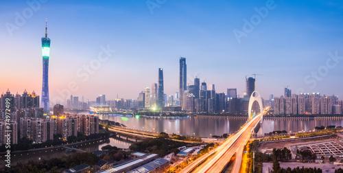 Photo  guangzhou panorama in nightfall