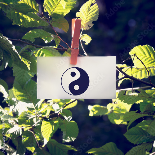 Photo  Yin and yang symbol on a white card hanging from a leafy green b