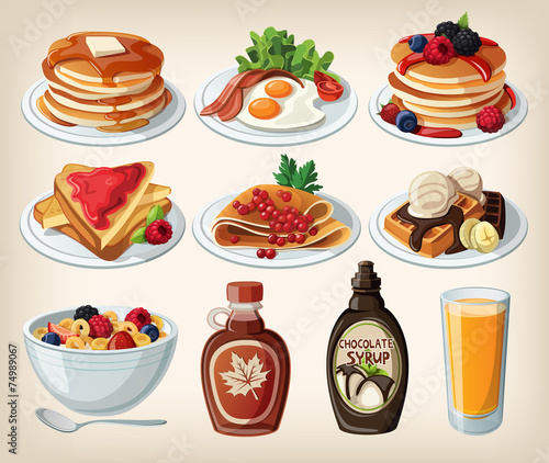 Fototapeta Classic breakfast cartoon set with pancakes, cereal, toasts and obraz