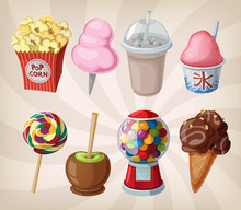 A Collection Of Fair Drinks And Sweets.