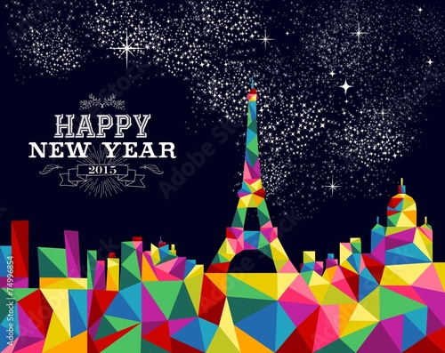 New year 2015 France poster design Canvas Print