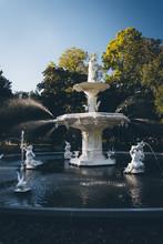 Fountain At Forsyth Park, In Savannah, Georgia.