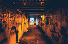 Graffiti In A Dark Pedestrian Tunnel, In Philadelphia, Pennsylva