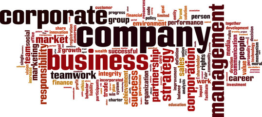 Company word cloud concept. Vector illustration
