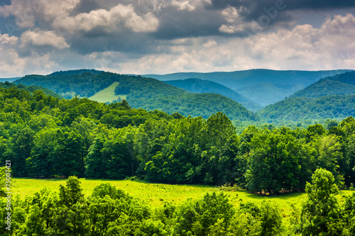View of mountains in the Potomac Highlands of West Virginia. Canvas Print