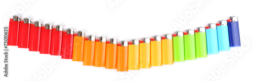 Colorful lighters isolated on white Wallpaper Mural