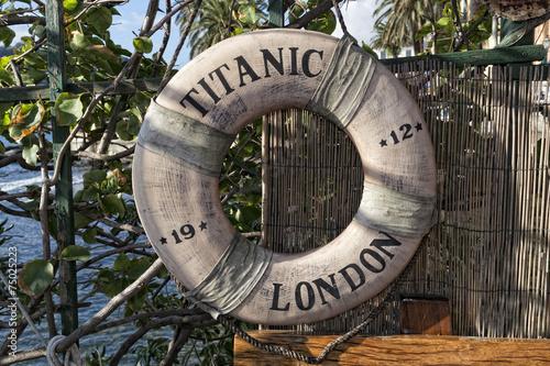 Photo  titanic ship life buoy
