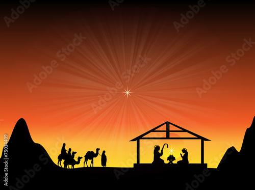 Fotografie, Obraz  Baby Jesus in a Manger with a Glowing Star in the Sky