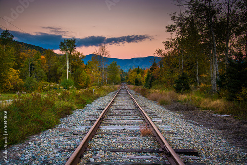 Poster Voies ferrées Railroad track and distant mountains at sunset seen in White Mou