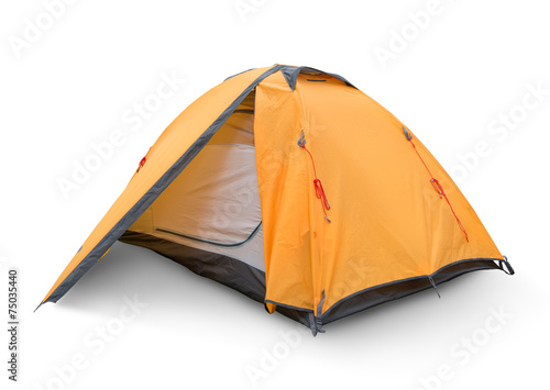 Tuinposter Kamperen Yellow tourist tent