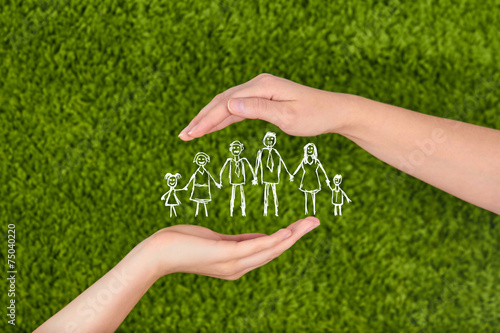 Fotografie, Obraz  Family life insurance, protecting family, family concepts.