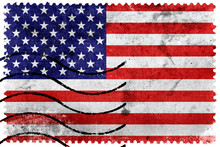 USA Flag - Old Postage Stamp