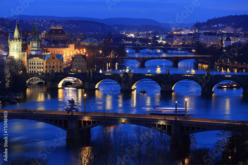 Poster Prague Winter night Prague City with its Bridges above River Vltava