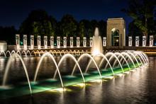 The National World War II Memorial Fountains At Night At The Nat