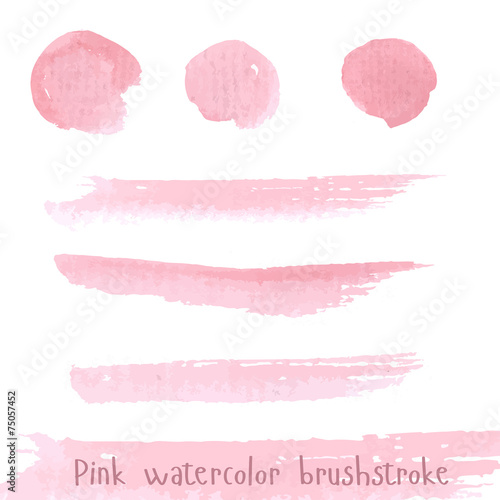 Hand drawn pink paint brushstroke watercolor Canvas Print