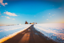 Country Road And Snow Covered Farm Fields In Rural York County,