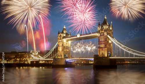 Tower bridge with firework, celebration of the New Year in Londo
